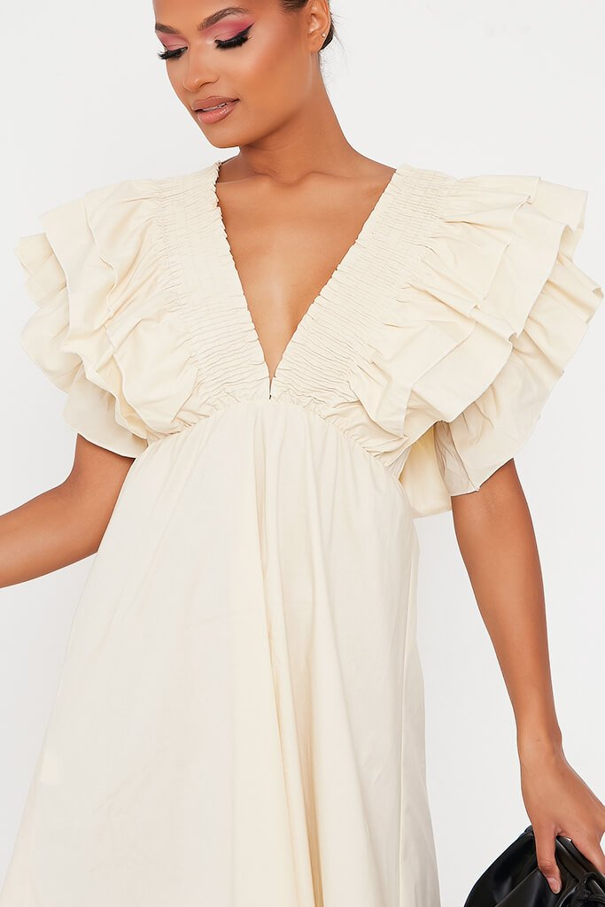 Sand Cotton Shirred Plunge Ruffle Sleeve Skater Dress view 4