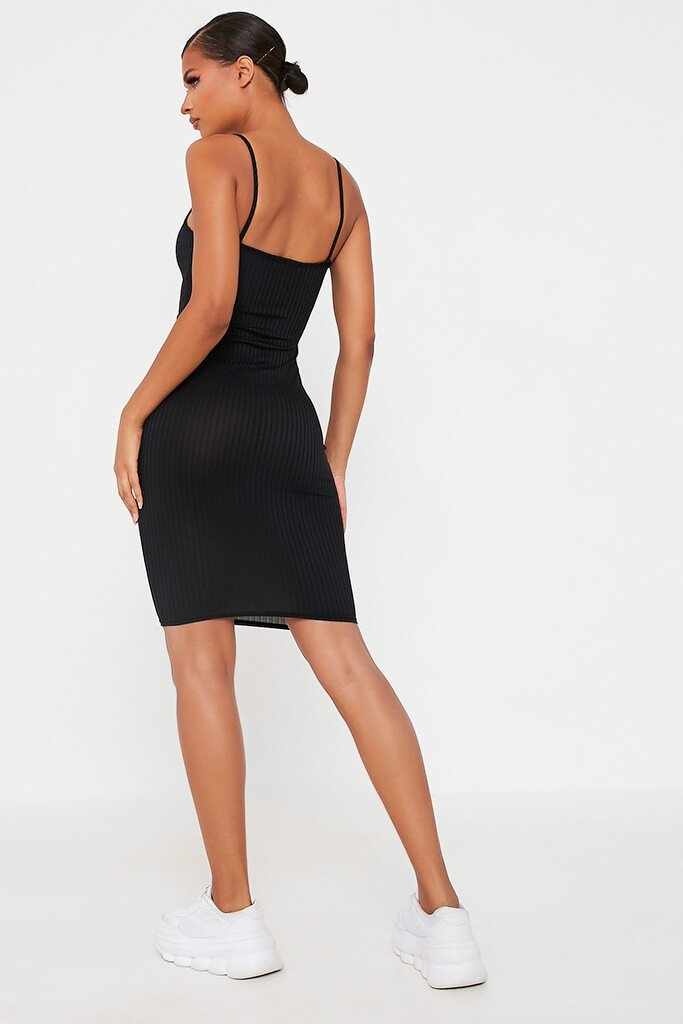 Black Cami Ribbed Mini Dress view 5