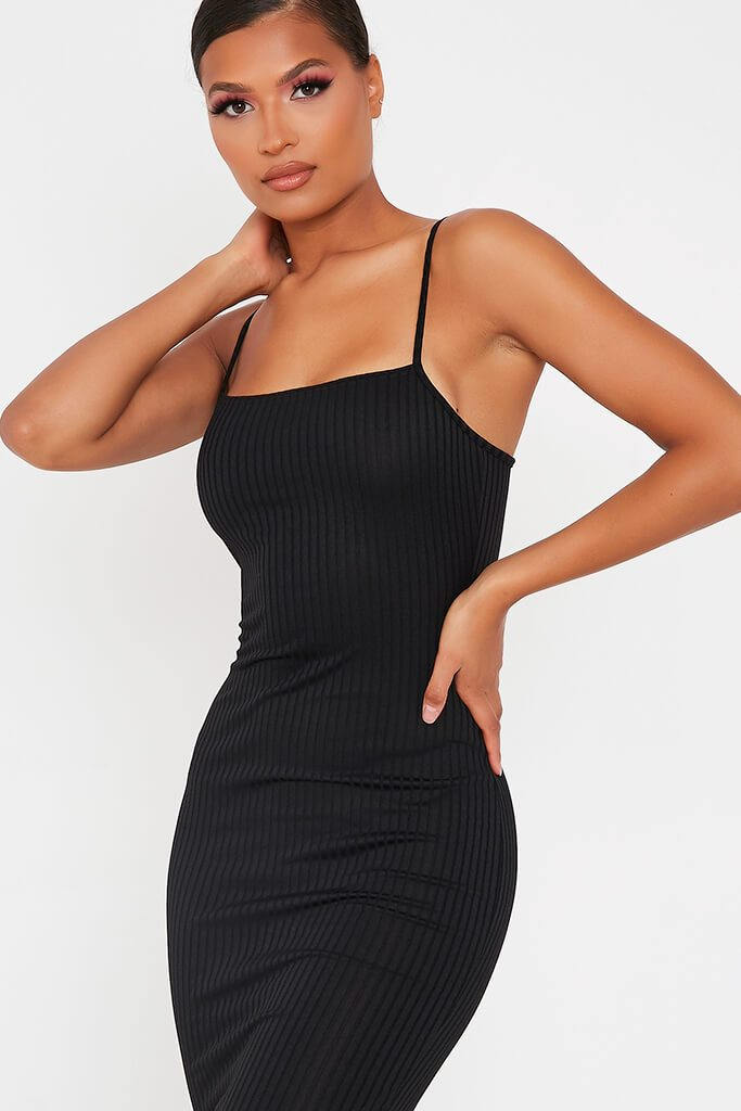 Black Cami Ribbed Mini Dress view 4