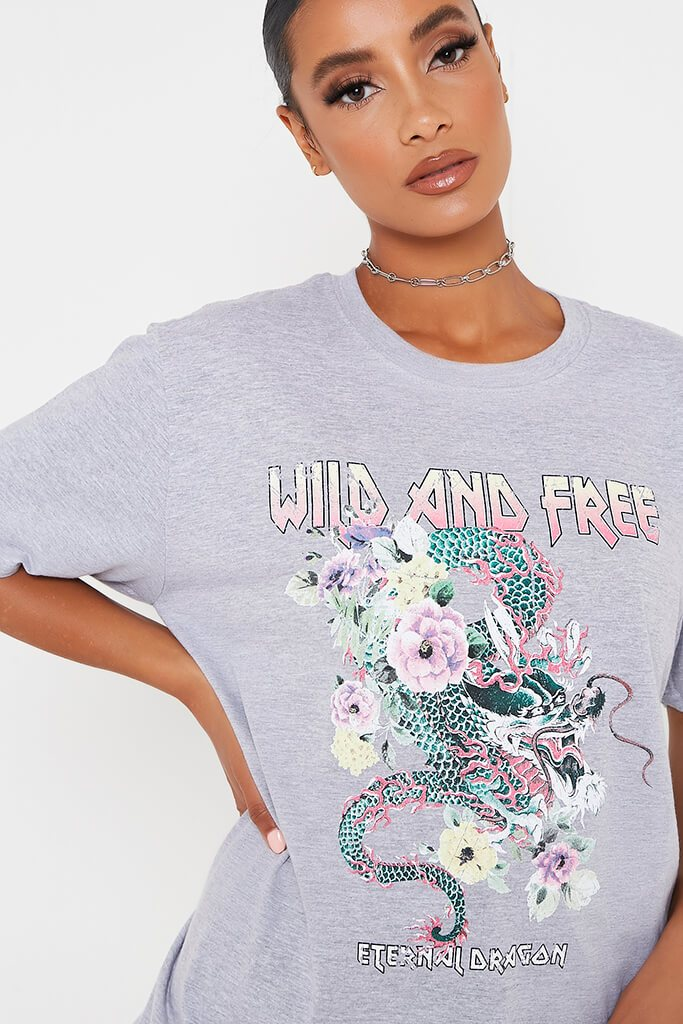 Grey Wild And Free Snake Oversized T-Shirt view 4