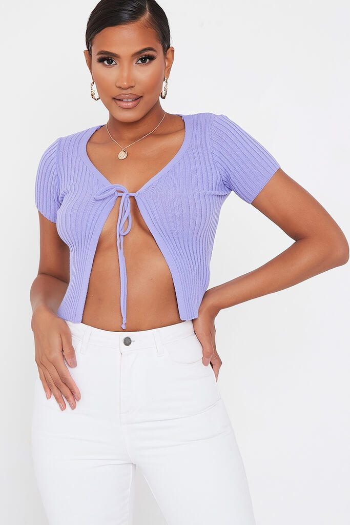 Lilac Short Sleeve Tie Front Cardigan