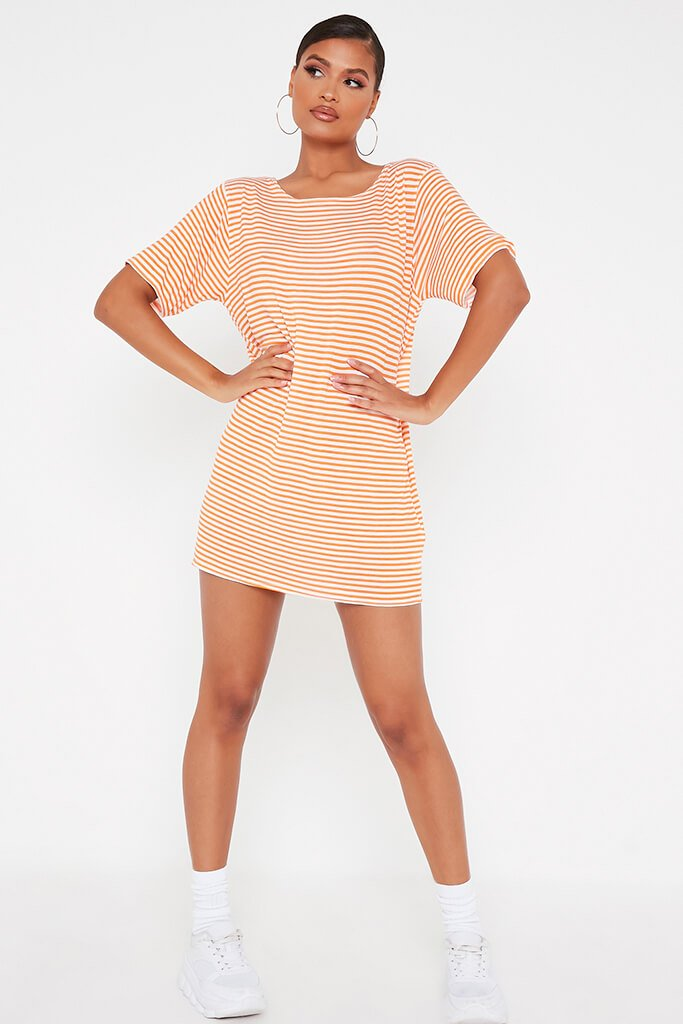 Orange Stripe Oversized T-Shirt Dress view 2