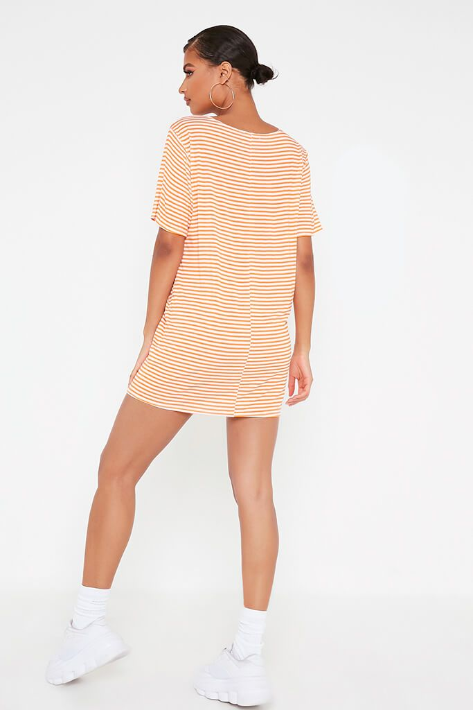 Orange Stripe Oversized T-Shirt Dress view 5
