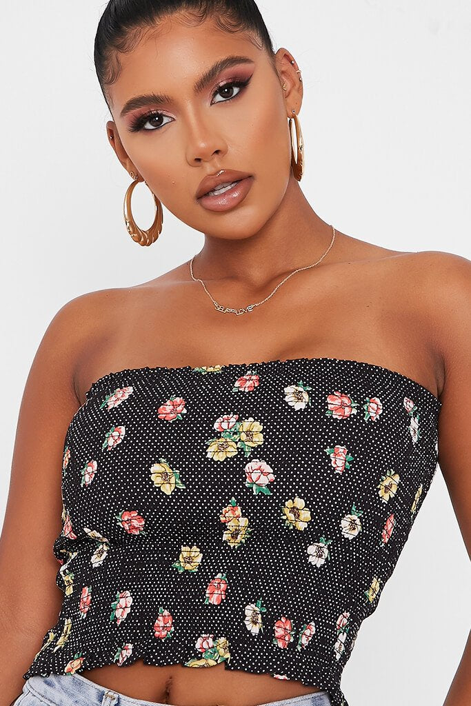 Black Floral Print Shirred Bandeau view 4