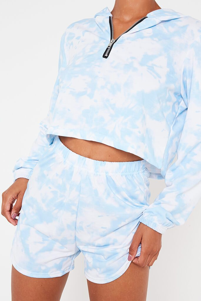 Baby Blue Tie Dye Zip Hoodie And Short view 4
