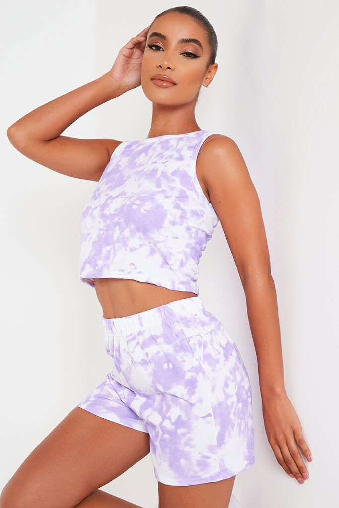Lilac Tie Dye Tank Top And Shorts Set