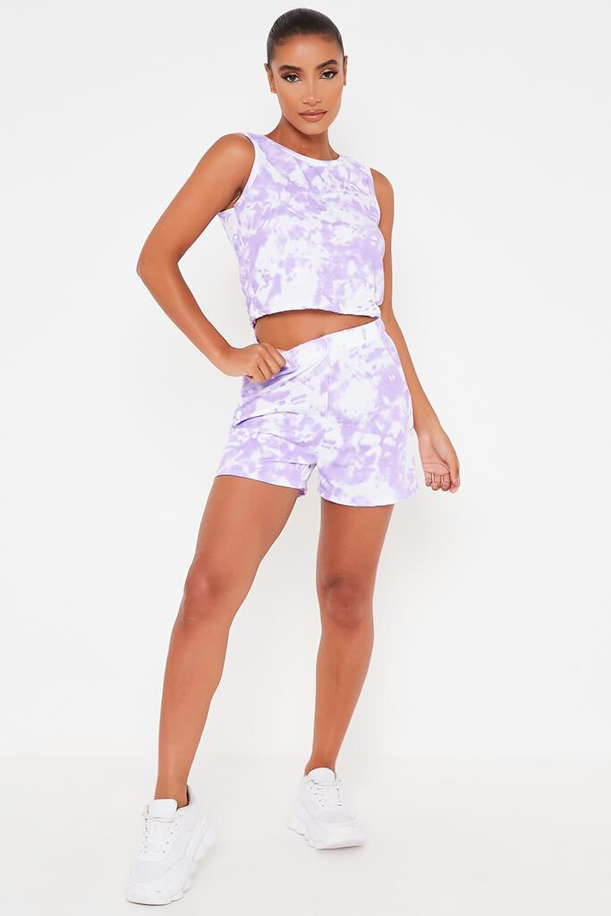 Lilac Tie Dye Tank Top And Shorts Set view 2