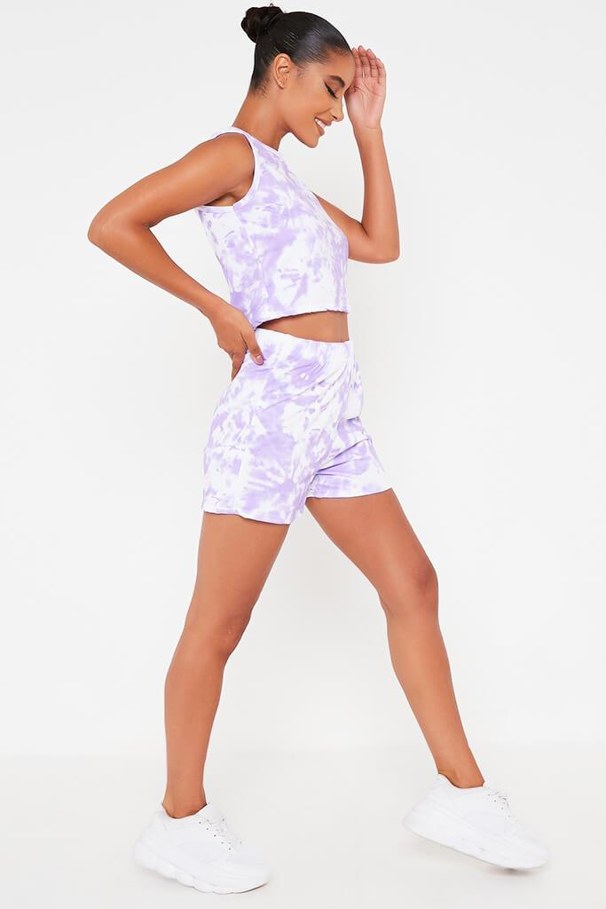 Lilac Tie Dye Tank Top And Shorts Set view 3