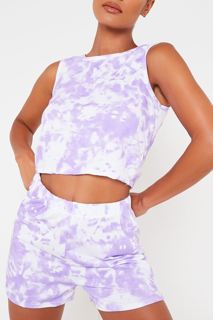 Lilac Tie Dye Tank Top And Shorts Set view 4