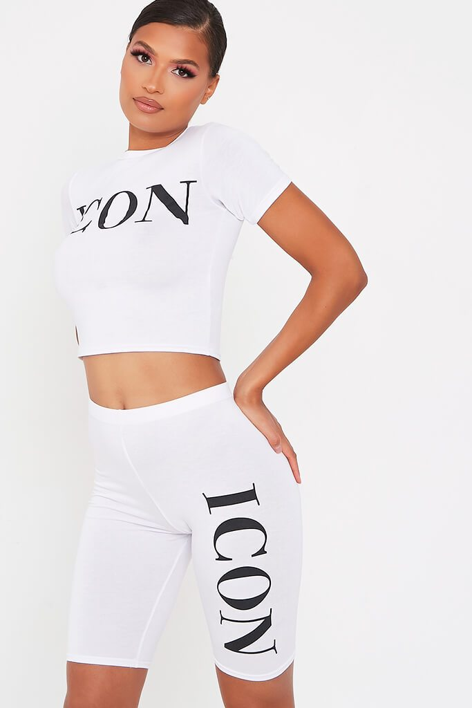 White Icon Cycling Short