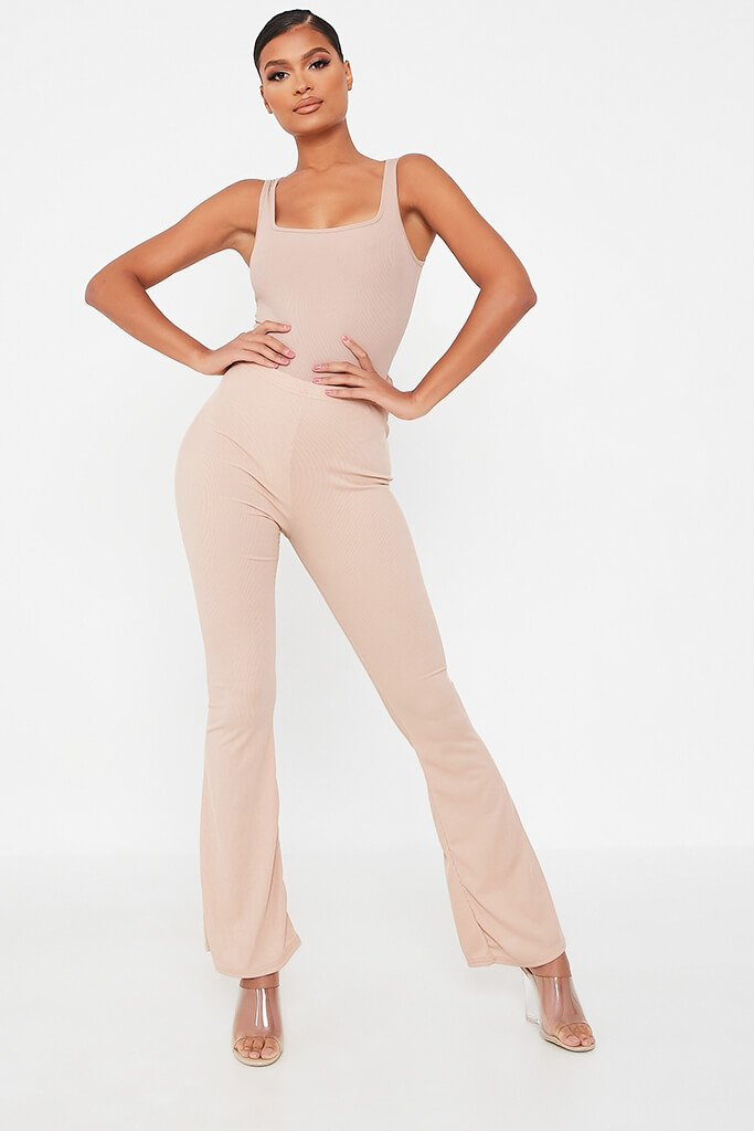 Stone Ribbed Flared Trousers