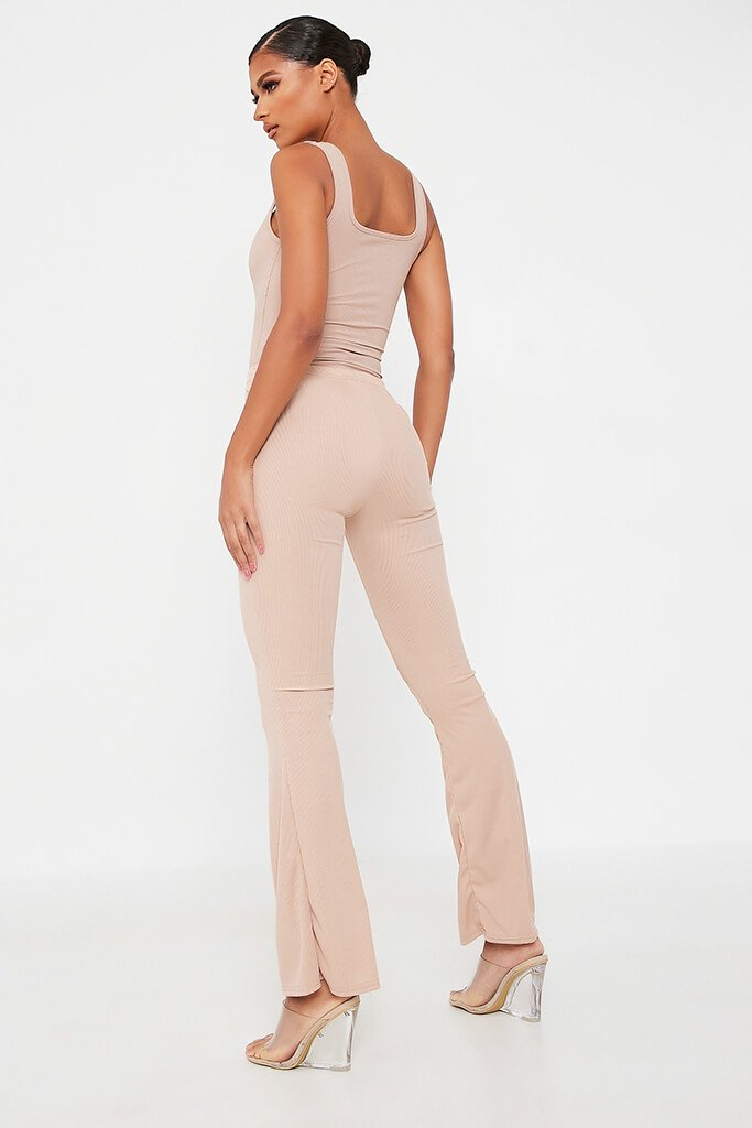 Stone Ribbed Flared Trousers view 5