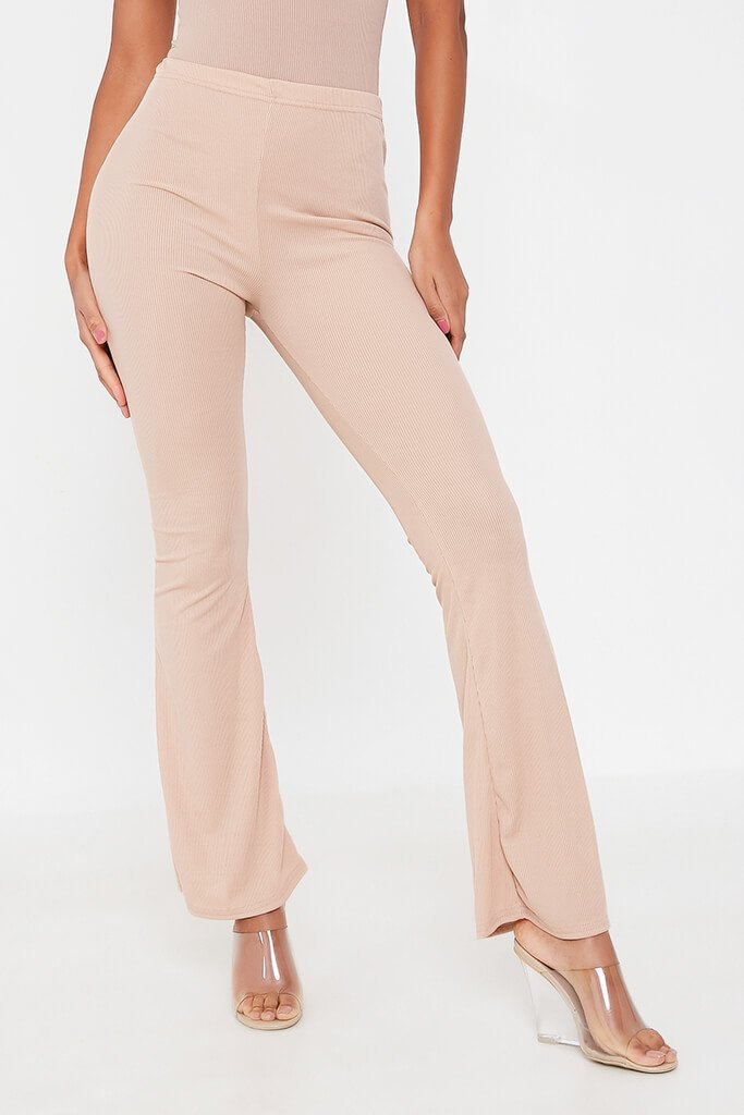 Stone Ribbed Flared Trousers view 2