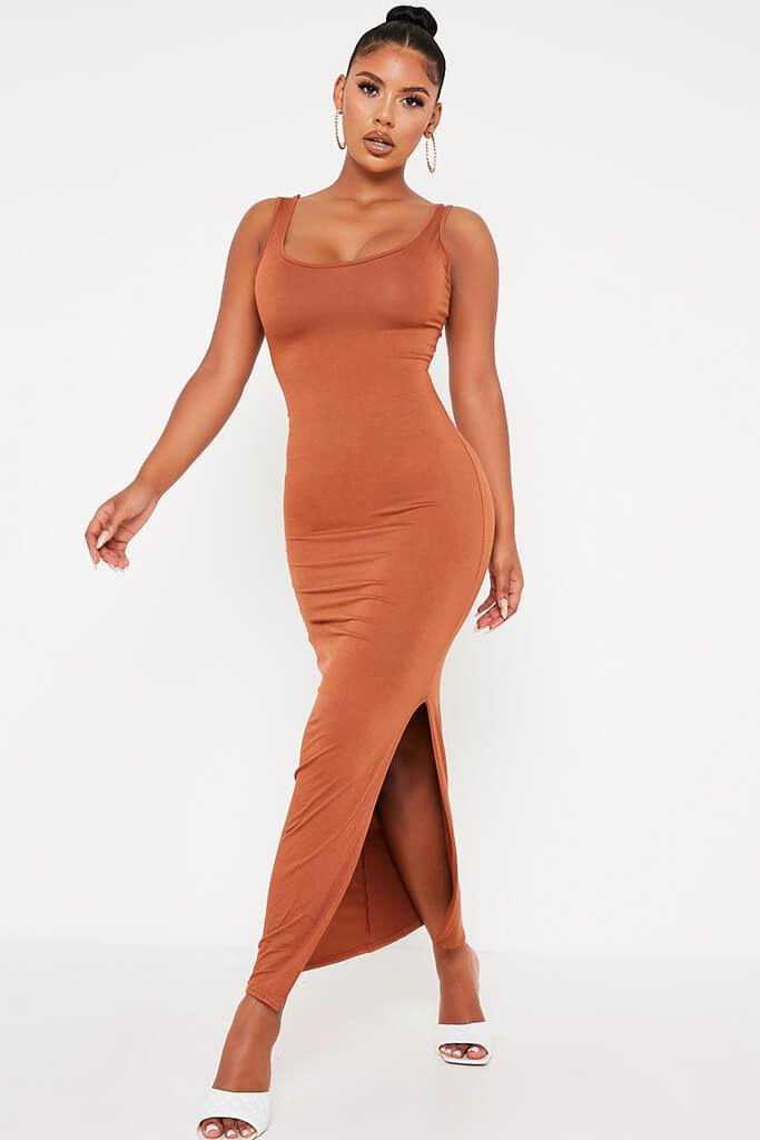 Tan Basic Jersey Vest Maxi Dress