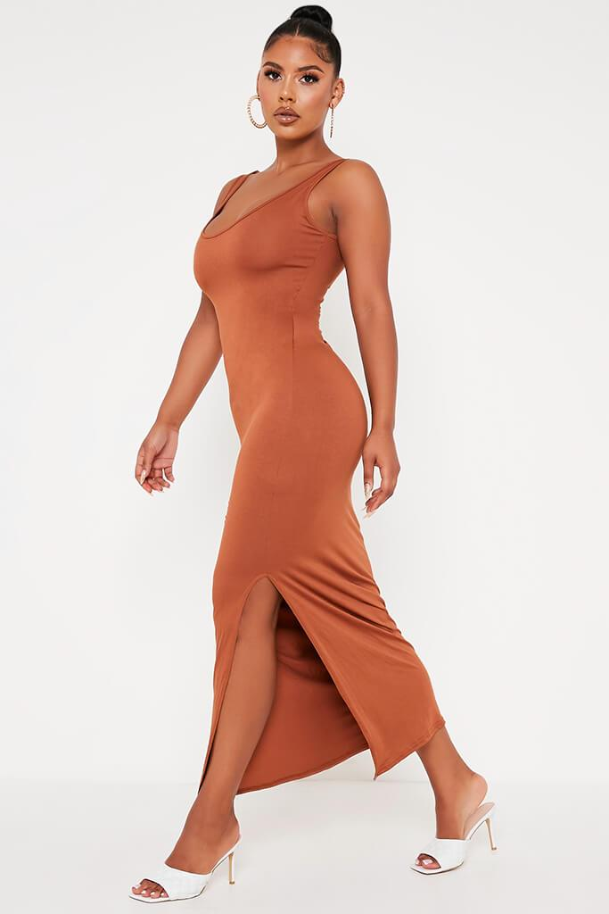 Tan Basic Jersey Vest Maxi Dress view 3