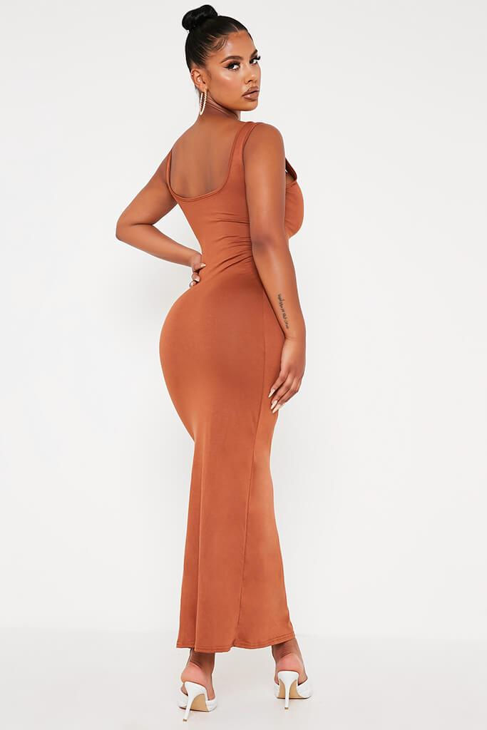 Tan Basic Jersey Vest Maxi Dress view 5