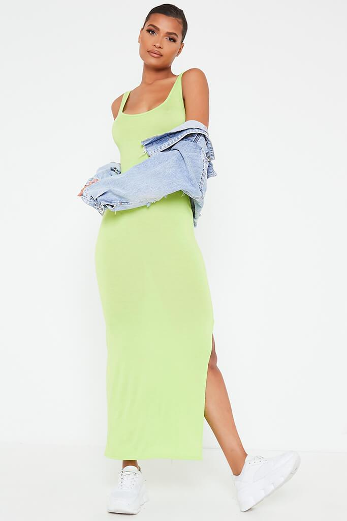 Lime Green Basic Jersey Vest Maxi Dress