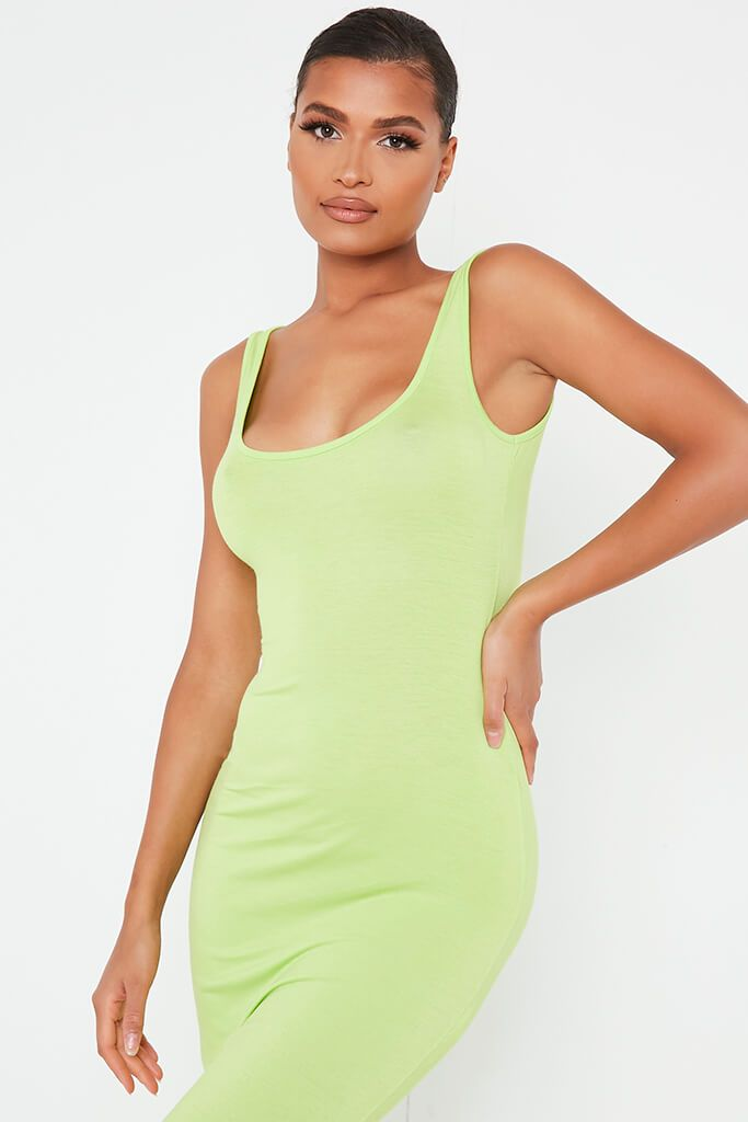 Lime Green Basic Jersey Vest Maxi Dress view 2