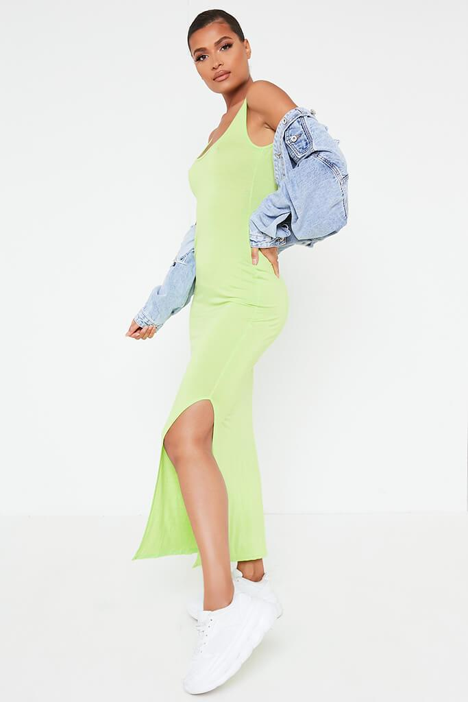 Lime Green Basic Jersey Vest Maxi Dress view 3