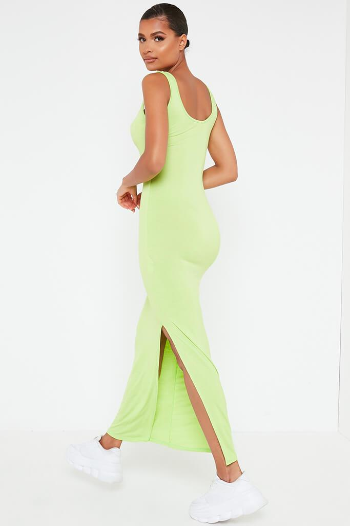 Lime Green Basic Jersey Vest Maxi Dress view 5