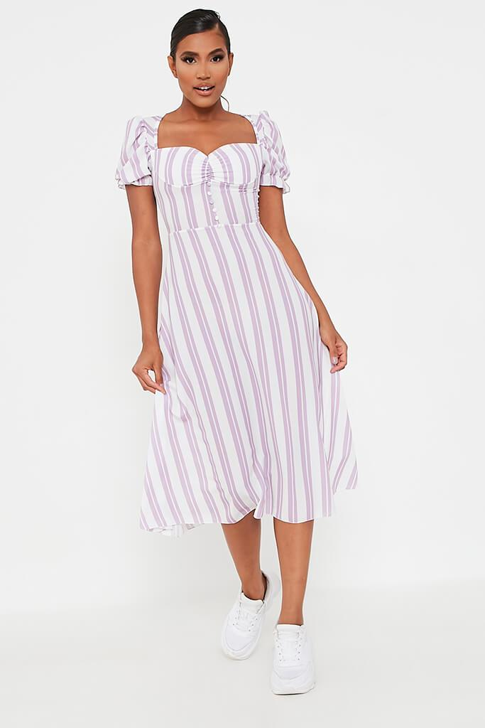 Lilac Stripe Sweetheart Puff Sleeve Midi Dress view 2