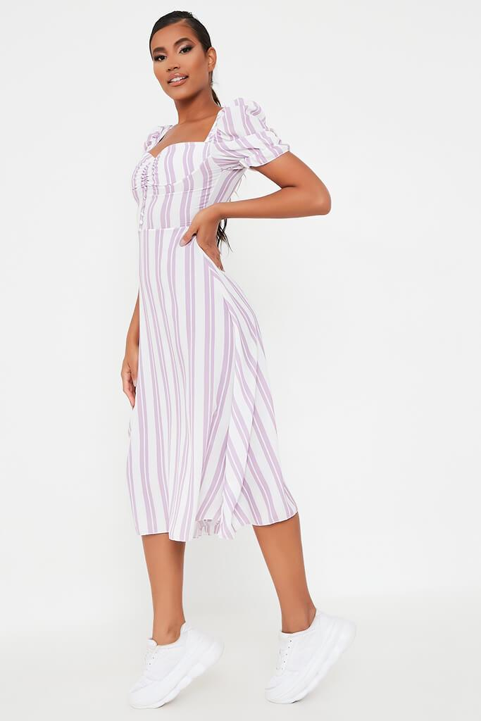 Lilac Stripe Sweetheart Puff Sleeve Midi Dress view 3