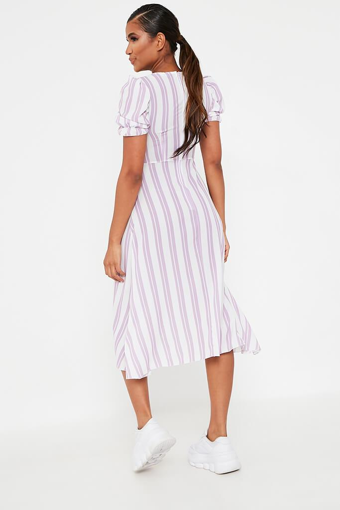 Lilac Stripe Sweetheart Puff Sleeve Midi Dress view 5