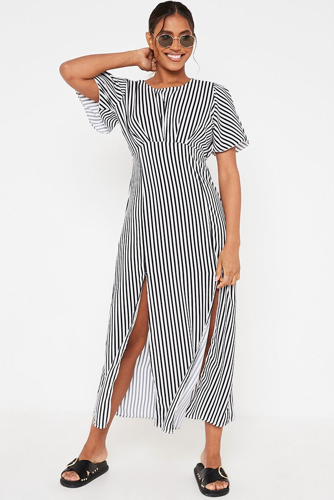 Black Stripe Short Sleeve Split Leg Midi Dress view 2