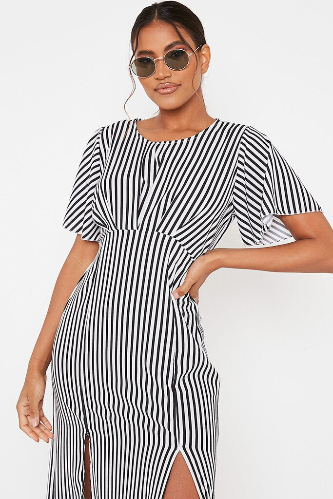 Black Stripe Short Sleeve Split Leg Midi Dress view 3