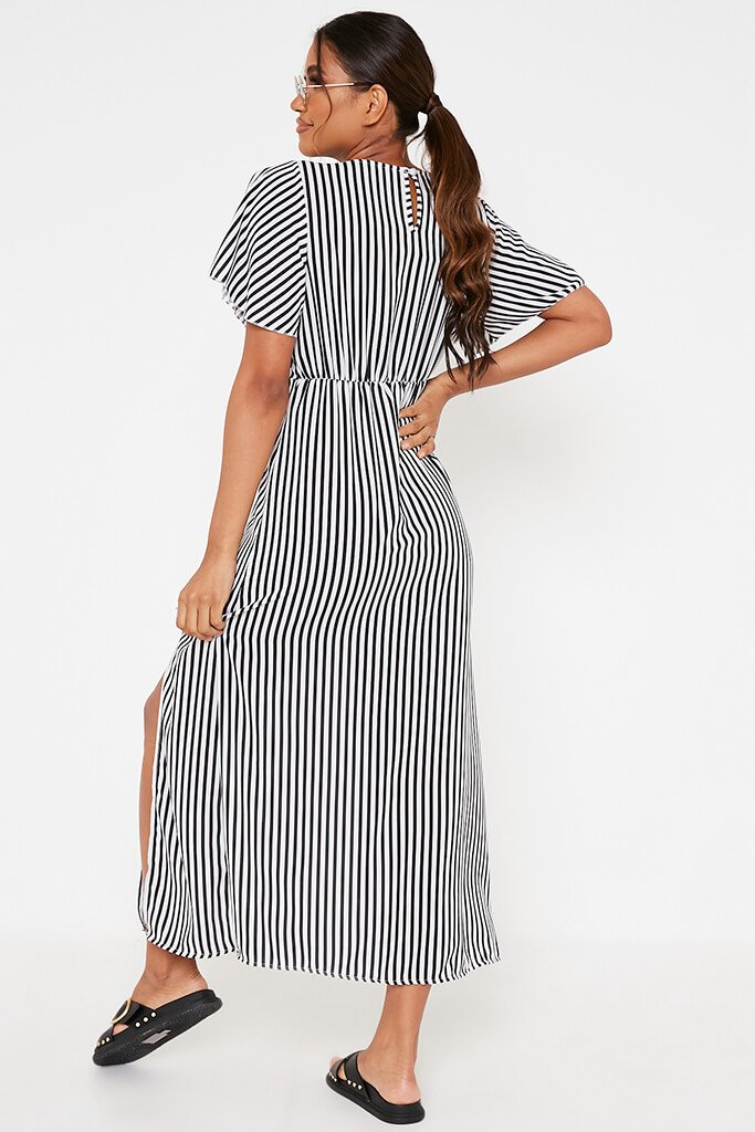 Black Stripe Short Sleeve Split Leg Midi Dress view 5