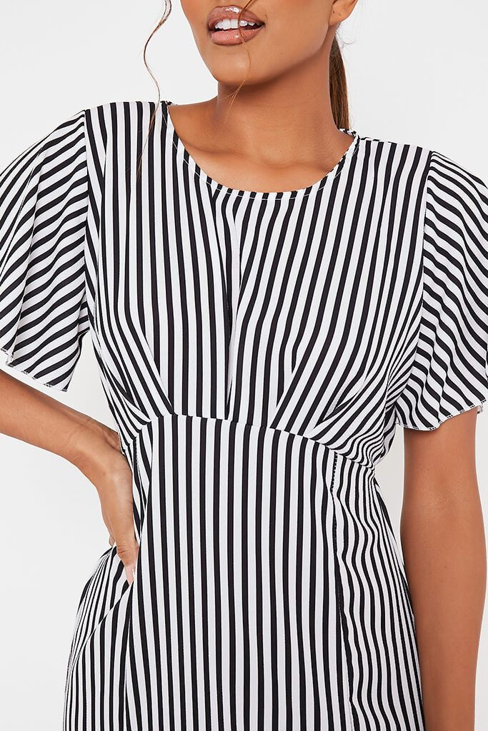 Black Stripe Short Sleeve Split Leg Midi Dress view 4