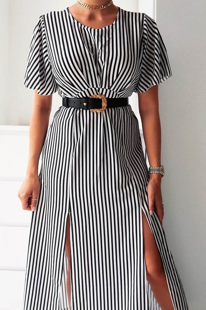 Black Stripe Short Sleeve Split Leg Midi Dress