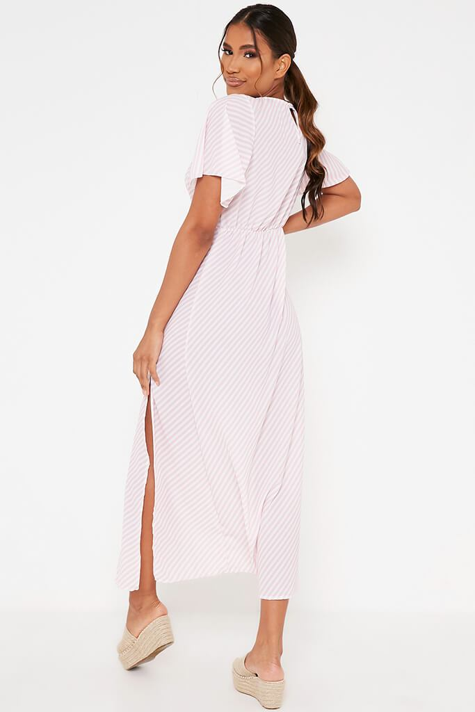 Pink Stripe Short Sleeve Split Leg Midi Dress view 5