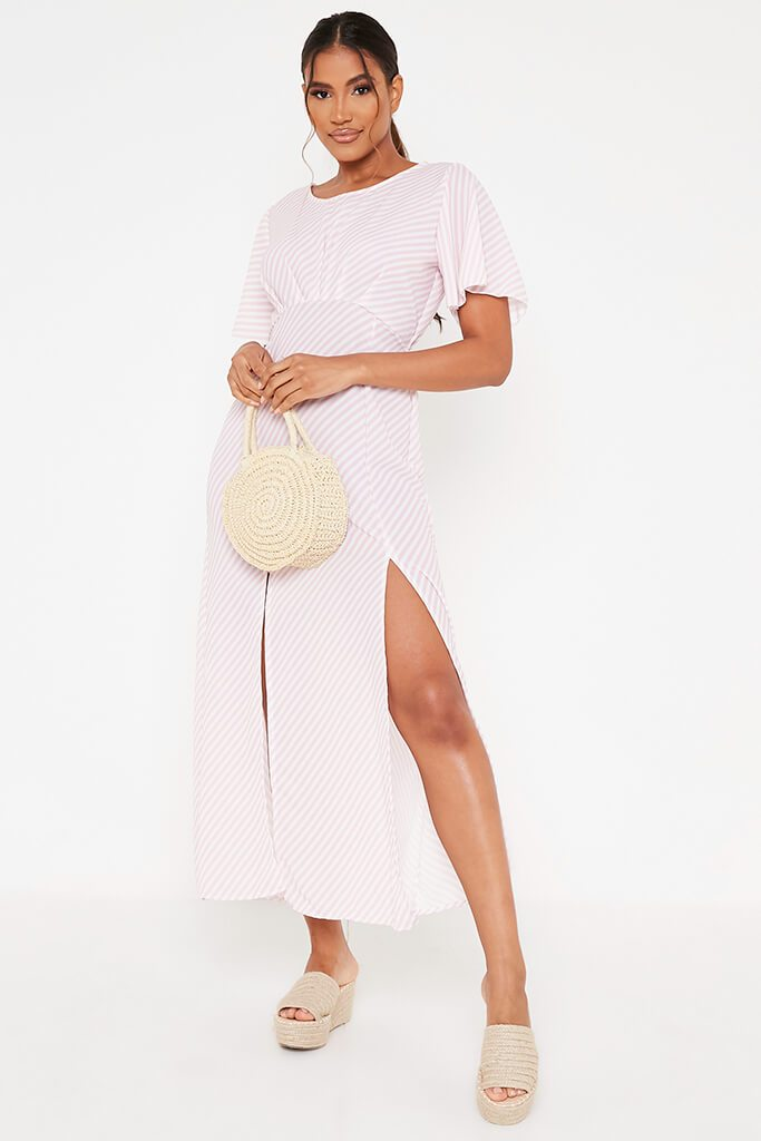 Pink Stripe Short Sleeve Split Leg Midi Dress