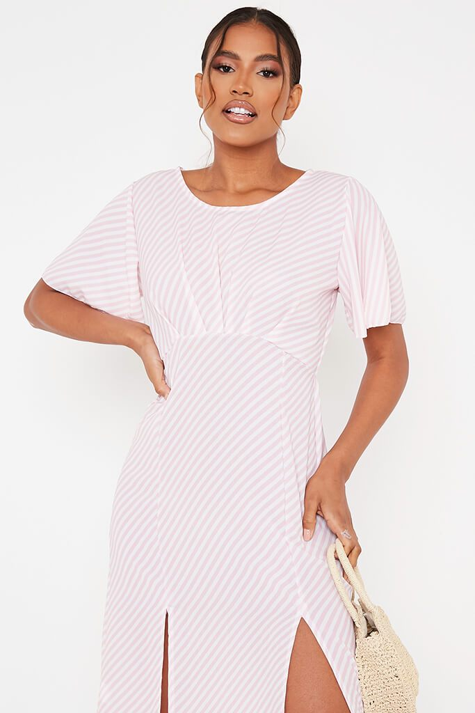 Pink Stripe Short Sleeve Split Leg Midi Dress view 2