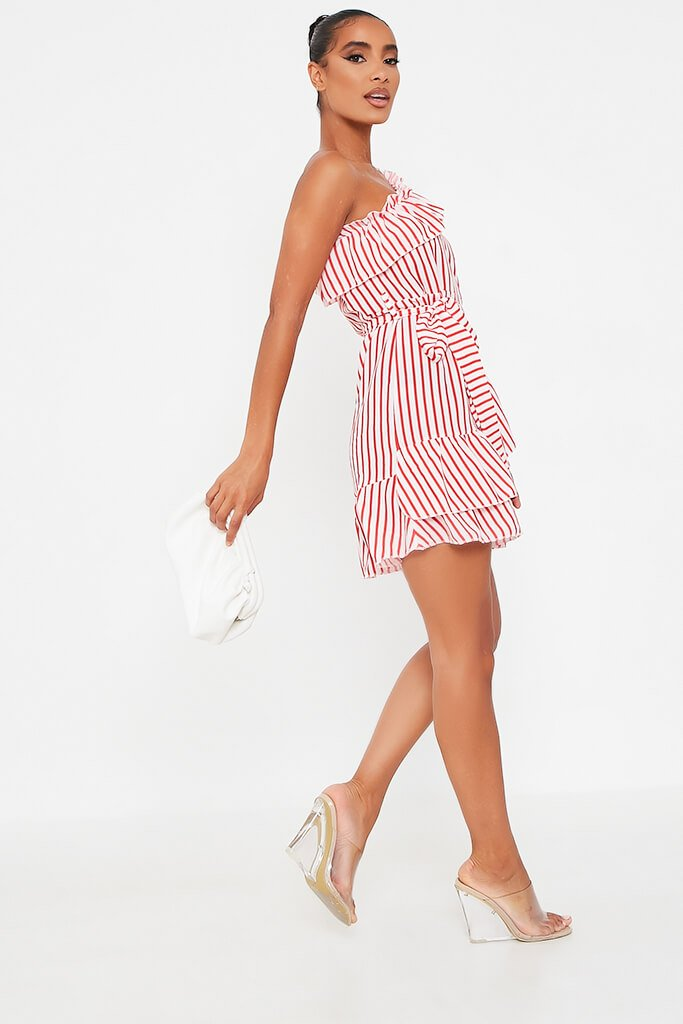 Red Stripe One Shoulder Frill Beted Tea Dress view 3
