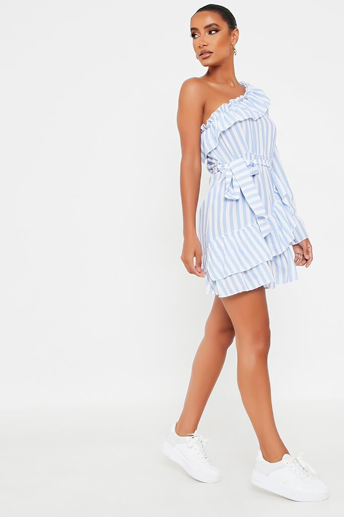 Baby Blue Stripe One Shoulder Frill Beted Tea Dress view 3