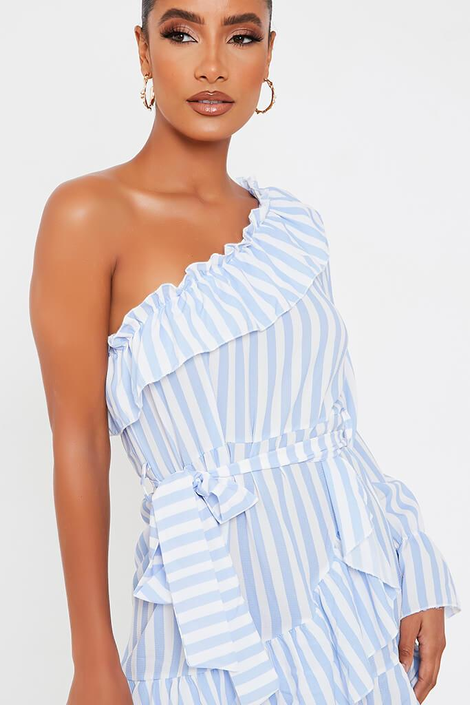 Baby Blue Stripe One Shoulder Frill Beted Tea Dress view 4