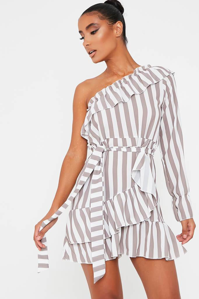 Stone Stripe One Shoulder Frill Belted Tea Dress