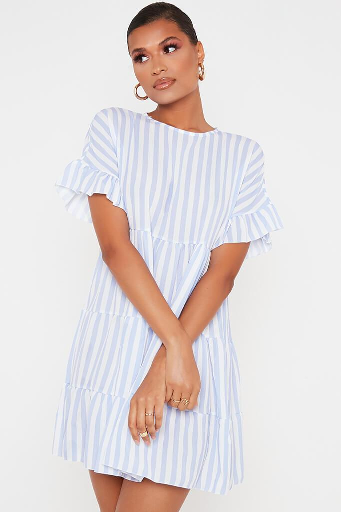 Blue Stripe Frill Tiered Smock Dress view main view