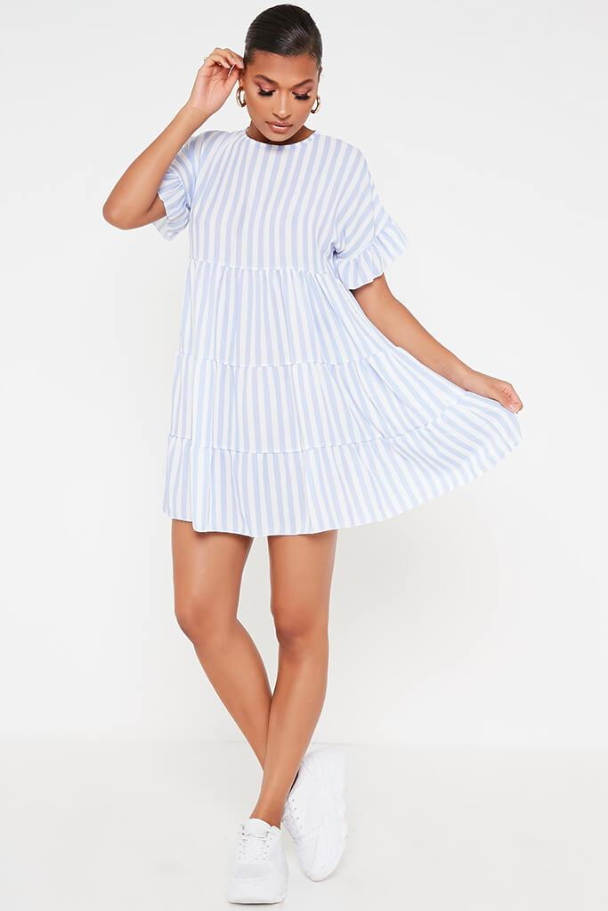 Blue Stripe Frill Tiered Smock Dress view 2