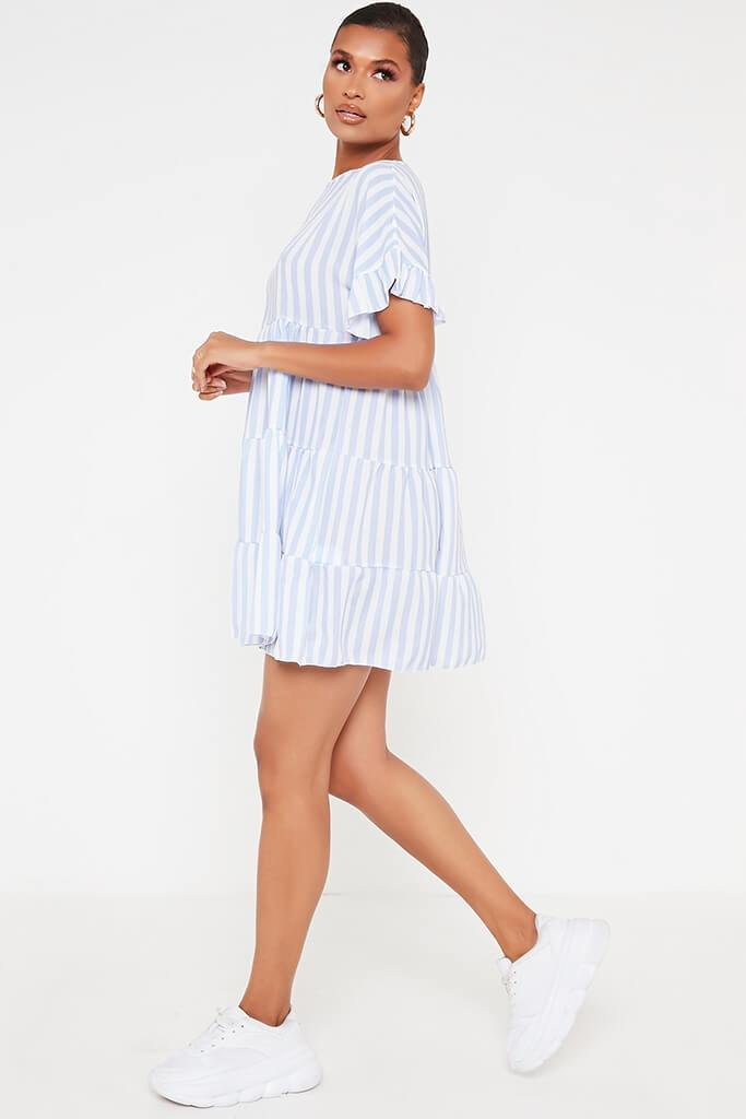 Blue Stripe Frill Tiered Smock Dress view 3