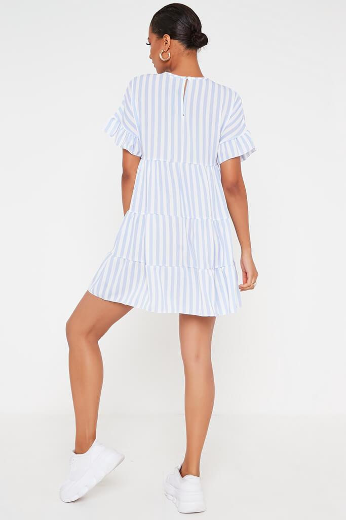 Blue Stripe Frill Tiered Smock Dress view 5