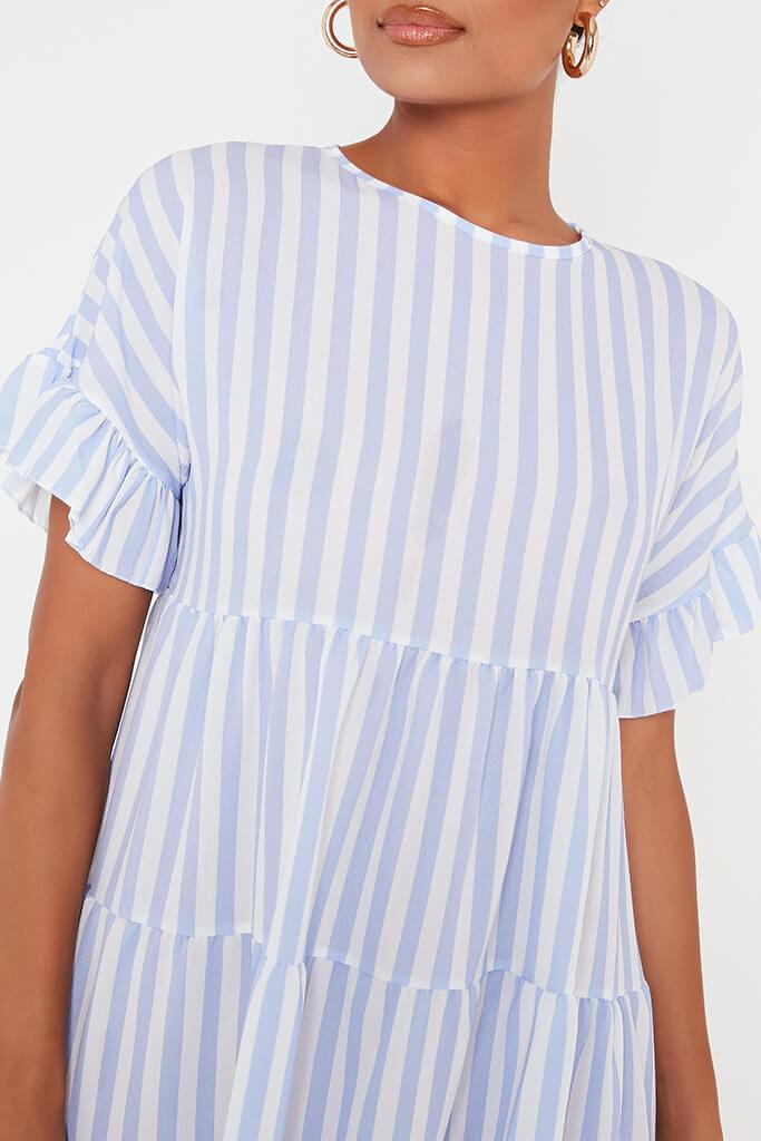 Blue Stripe Frill Tiered Smock Dress view 4