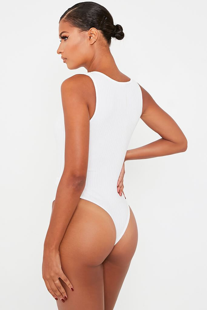 Ivory Ribbed Racer Neck Bodysuit view 5