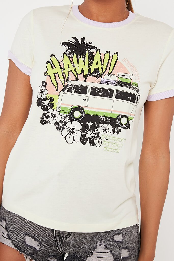 Cream Hawaii Graphic T Shirt view 4