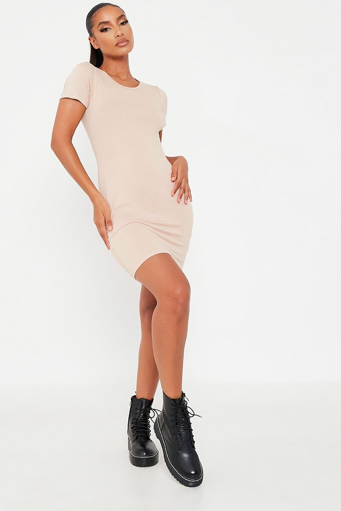 Stone Basic Jersey Fitted T Shirt Dress