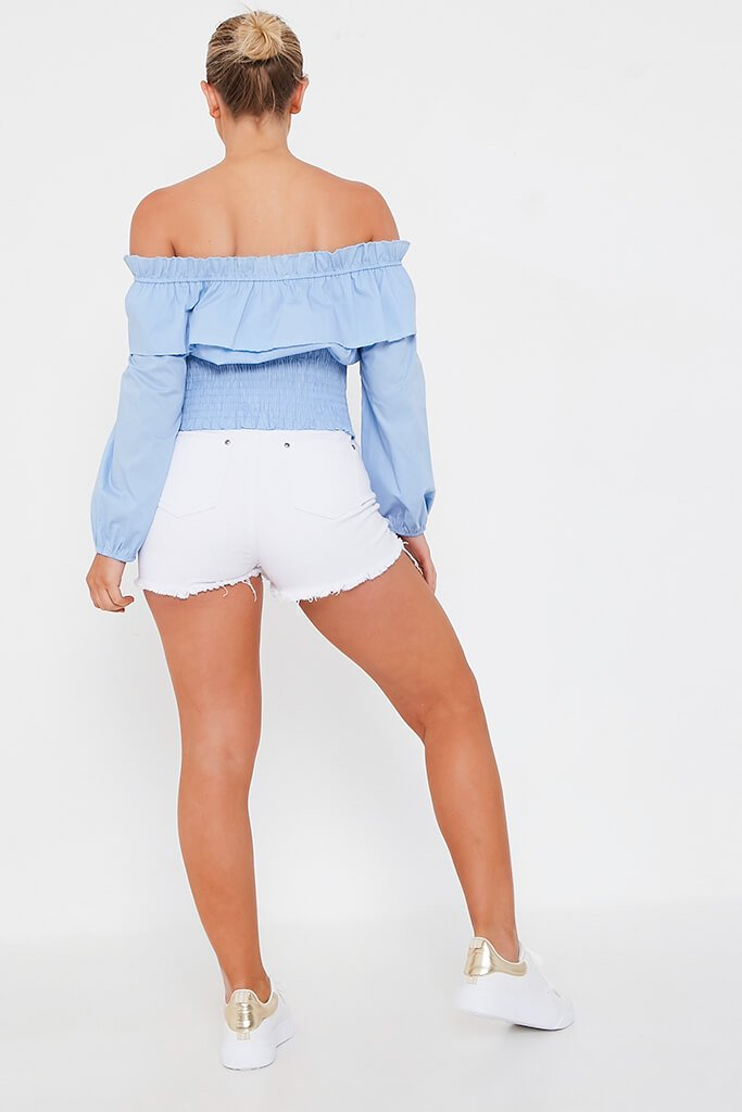 Baby Blue Ruched Neck Detail Bardot Top view 5