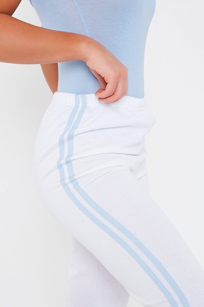 White Side Stripe Joggers view 4