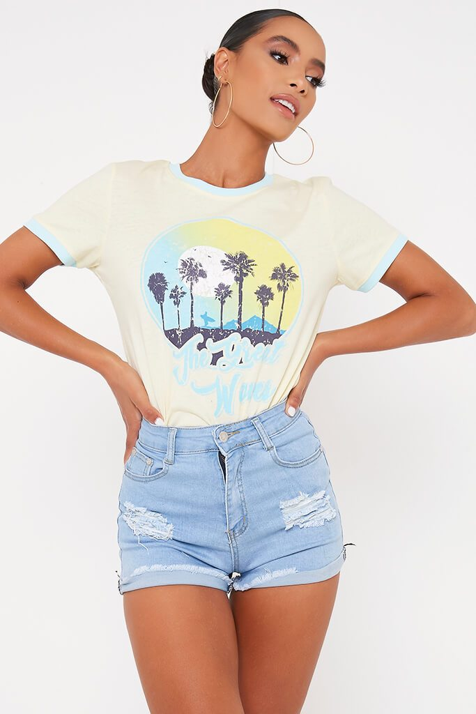 Lemon The Great Waves Printed T Shirt